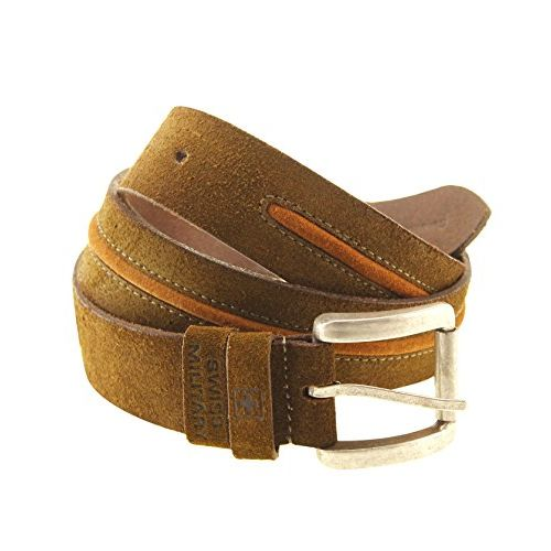 SWISS MILITARY Men's Leather Suede Belt (Brown, Free Size)