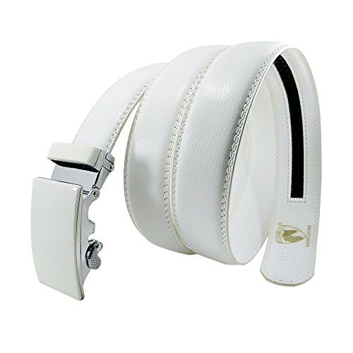 ASB Premium White Color Genuine Leather Branded Belt for Men with Automatic Alloy Buckle and Ratchet Locking System for Formal and Casual Wear