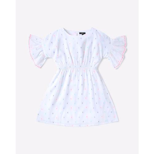 AJIO Swiss-Dot Pattern A-line Dress with Bell Sleeves
