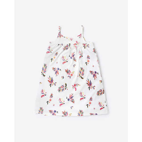 AJIO Printed Strappy A-line Dress with Ruffle Layer