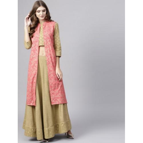 28e22476d7 ... AKS Beige & Peach-Coloured Khari Print Ready to Wear Lehenga with Choli  & Ethnic ...