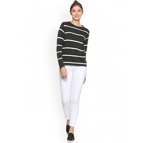 People Charcoal Grey & White Striped Top