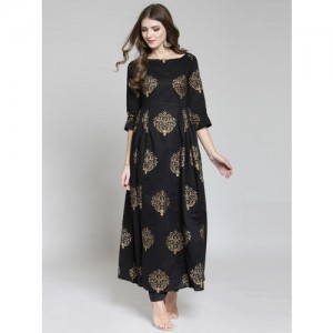 Sera Black Viscose Gold Printed Kurta with Palazzos