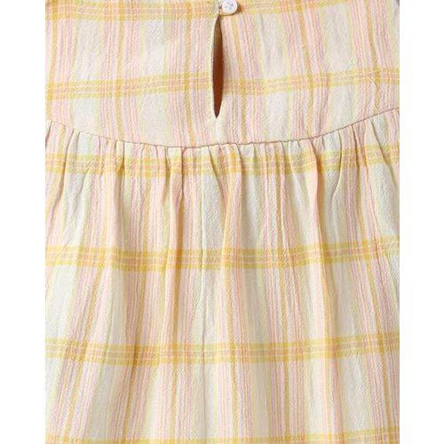 AJIO Checked Strappy A-line Dress with Ruffles