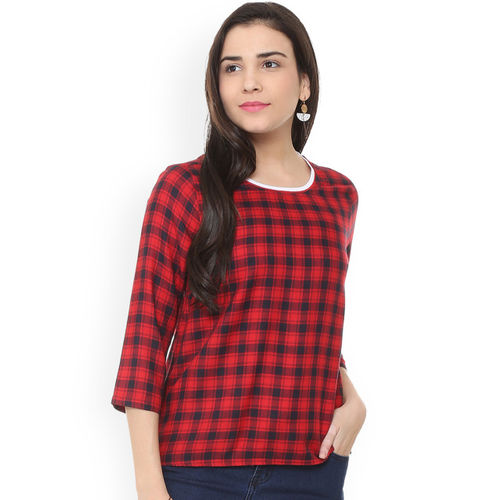 People Women Red & Black Checked Top