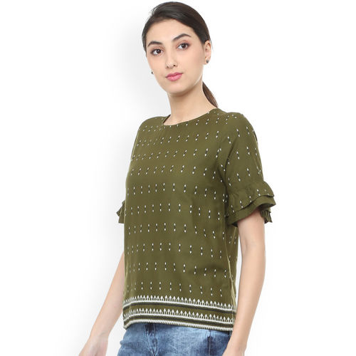 People Women Olive Green Printed A-Line Top