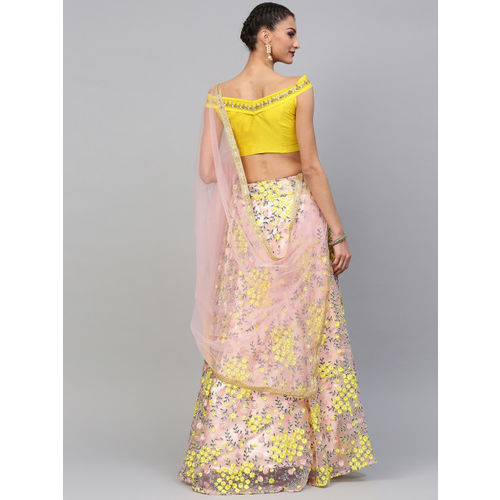 Inddus Peach-cooloured & Yellow Semi-Stitched Lehenga & Unstitched Blouse with Dupatta