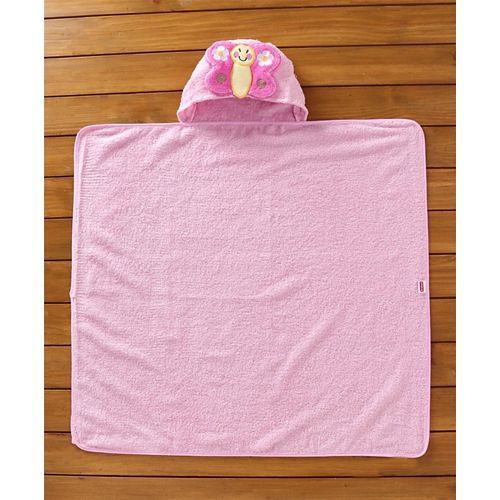 Babyhug Cotton Hooded Towel Butterfly Patch - Pink