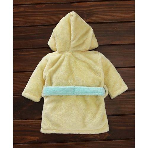 Babyhug Full Sleeves Hooded Velour Bath Robe - Yellow