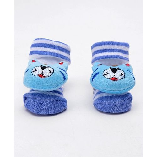Cute Walk by Babyhug Ankle Length Sock Shoes With Motif - Blue (Design May Vary)