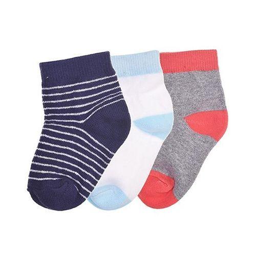 Footprints Super Soft Organic Cotton Socks Pack Of 3 - Navy Blue Red