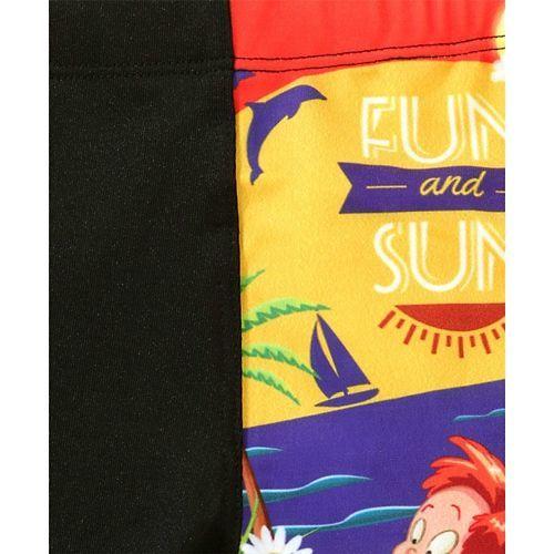 Rovars Swimming Trunks Sun Print - Black Red