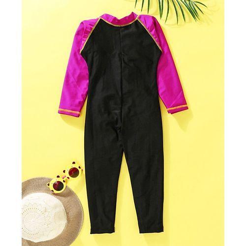 Rovars Full Sleeves Legged Swimsuit - Black Pink