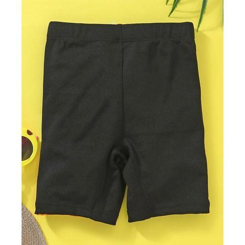 Rovars Swimming Trunks Enjoy The Summer Vacation Print - Black & Purple