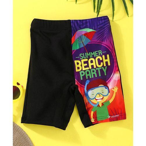 Rovars Swimming Trunks Summer Beach Party Print - Black & Purple