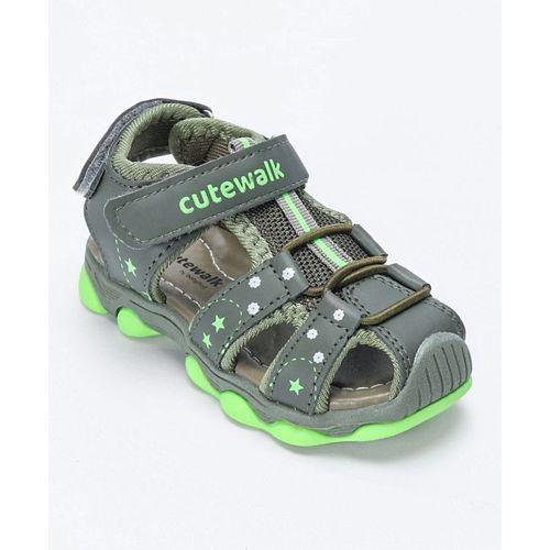 Cute Walk by Babyhug Close Toe Floaters - Grey Green