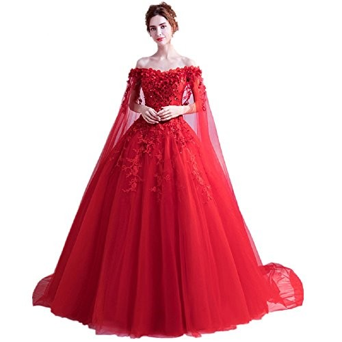 THE LONDON STORE Red Organza Wedding Ball Gown
