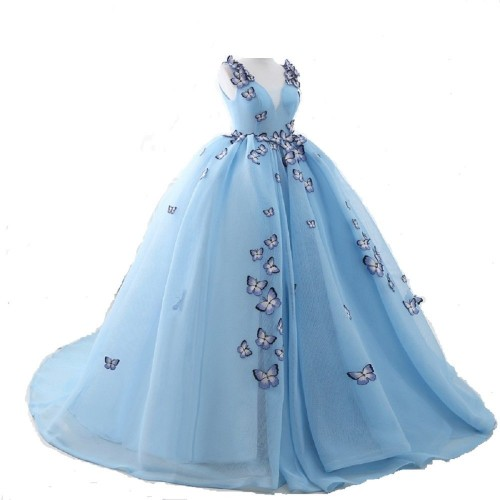 THE LONDON STORE Light Blue Georgette Wedding Ball Gown