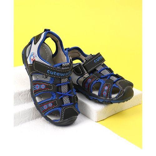 Cute Walk by Babyhug Sandals With Velcro Closure - Blue & Black