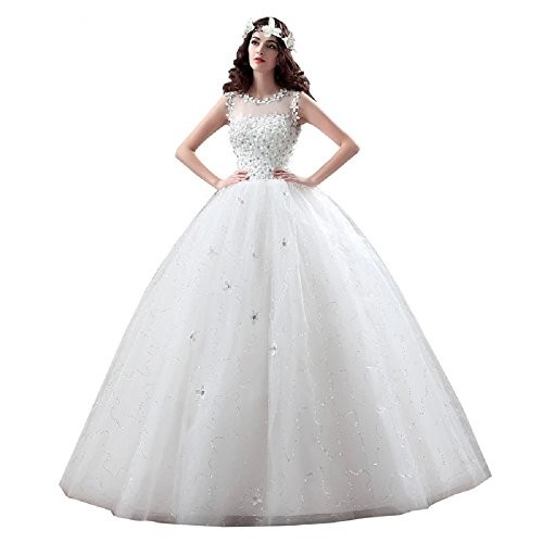 THE LONDON STORE White Organza Wedding Ball Gown