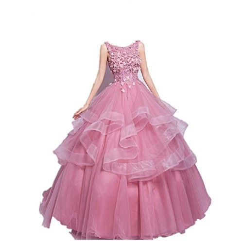 THE LONDON STORE Pink Organza Flower Wedding Ball Gown Dresses