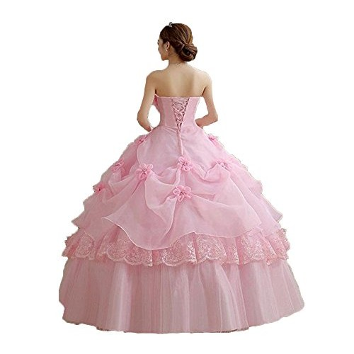 THE LONDON STORE Pink Organza Floral Ball Gown