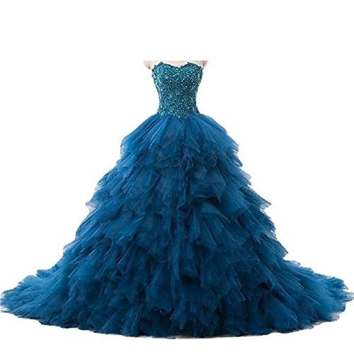 THE LONDON STORE Peacock Blue Organza Ball Gown