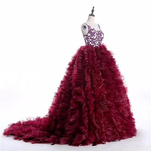 THE LONDON STORE Wine-Red Organza Ball Gown