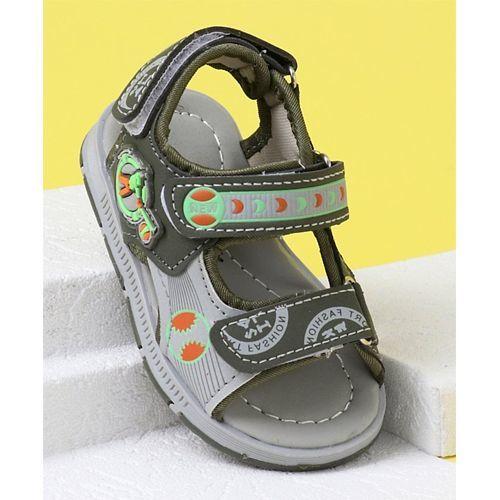 Cute Walk by Babyhug Velcro Closure Sandals - Olive Green Grey