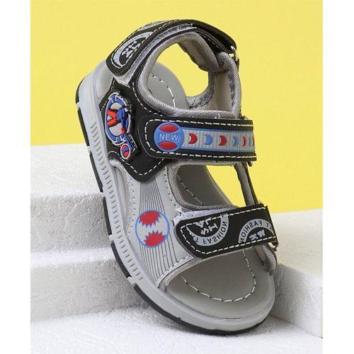 Cute Walk by Babyhug Velcro Closure Sandals - Black Grey