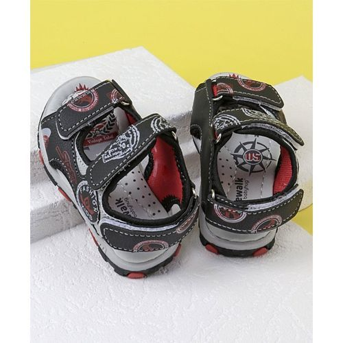Cute Walk by Babyhug Printed Sandals - Black Grey