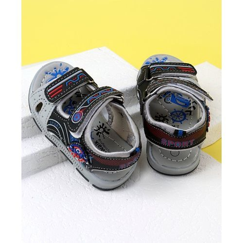 Cute Walk by Babyhug Open Toe Sandals Sport Patch - Black