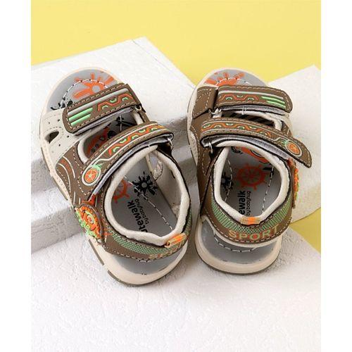Cute Walk by Babyhug Open Toe Sandals Sport Patch - Brown
