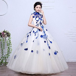 THE LONDON STORE White & Blue Organza Floral Ball Gown
