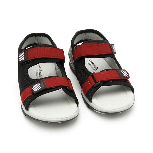 Cute Walk by Babyhug Sandals With Dual Velcro Closure - Red Black