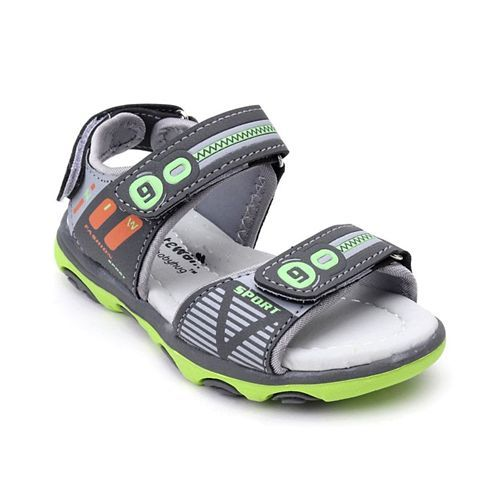 Cute Walk By Babyhug Sandals With Velcro Closure - Green Grey