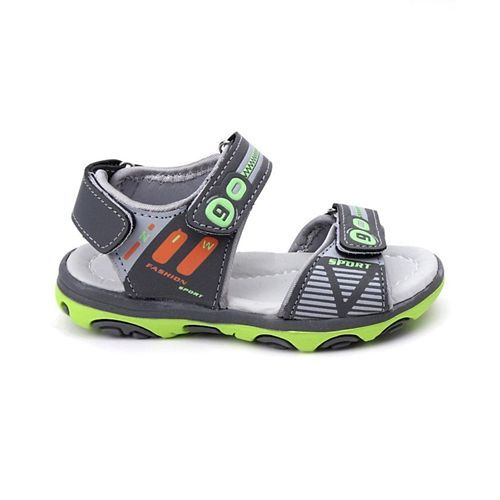 Cute Walk By Babyhug Sandals With Velcro Closure - Green Grey