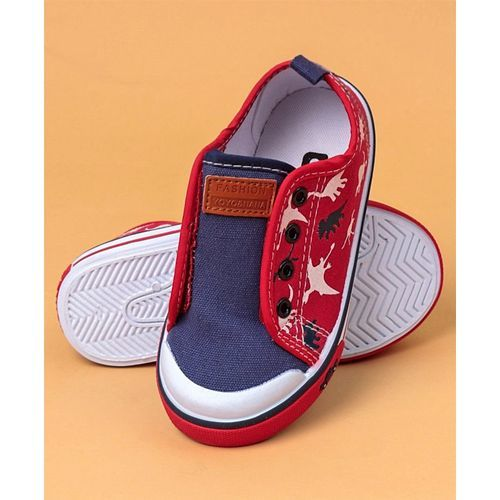 Cute Walk by Babyhug Canvas Shoes Dino Print - Navy Blue Red