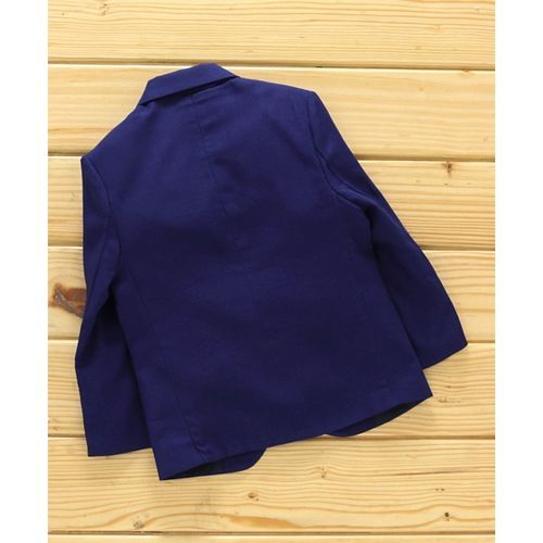 Rikidoos Full Sleeves Solid Blazer - Navy Blue