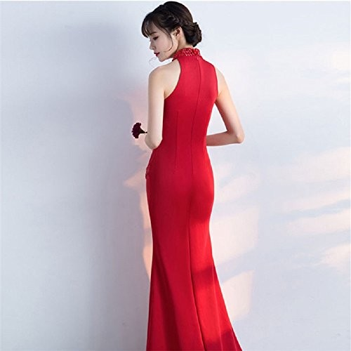 THE LONDON STORE Red Satin Mermaid Gown