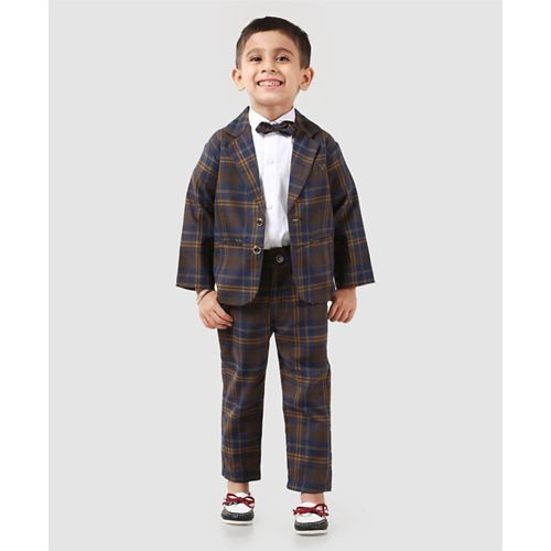 Rikidoos Full Sleeves Checks Party Suit With Bow - Blue & Brown