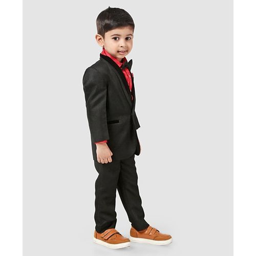 Babyhug Three Piece Party Suit With Bow - Black