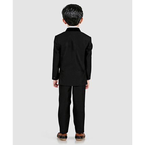 Robo Fry 3 Piece Full Sleeves Party Wear Suit With Tie - Black