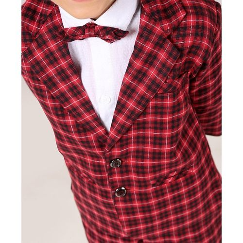 Rikidoos 3 Piece Full Sleeves Checks Party Suit With Bow - Red