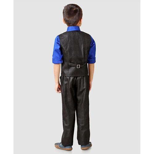 Robo Fry Solid Colour 3 Piece Suit With Bow - Black Blue