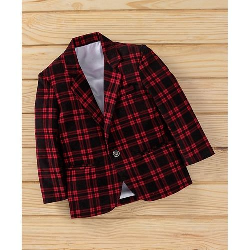 Rikidoos Checks Full Sleeves Blazer - Red
