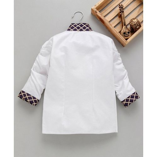 Knotty Kids Full Sleeves Collar Design Neck Full Sleeves Blazer - White
