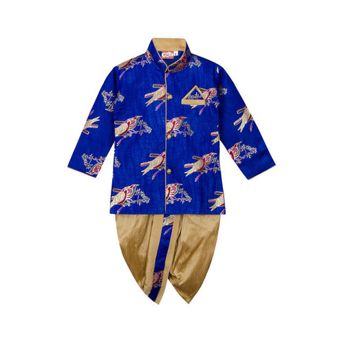 KID1 Boys Blue & Beige Printed Kurta with Dhoti Pants