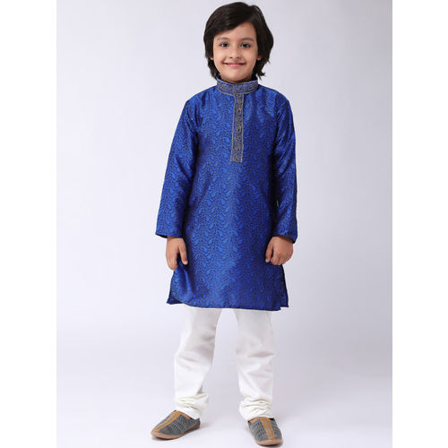 SOJANYA Boys Blue & White Self Design Kurta with Churidar