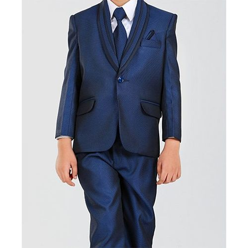 Dew's Burry Solid 3 Piece Party Suit Set With Tie - Navy Blue